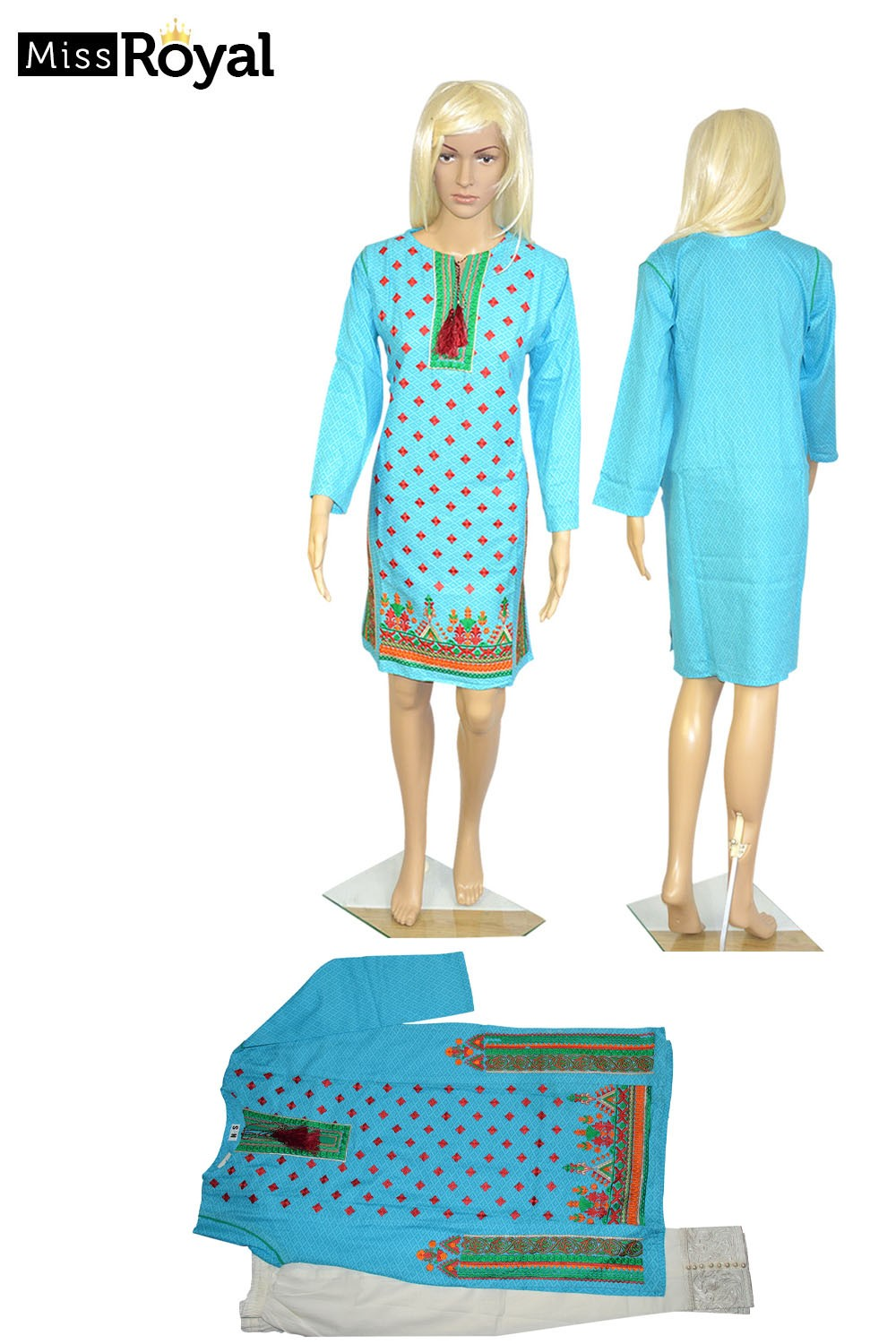 Quality Dress MissRoyal Asian stitched (Sky/White) dress in 2 pieces - Size Small - 1