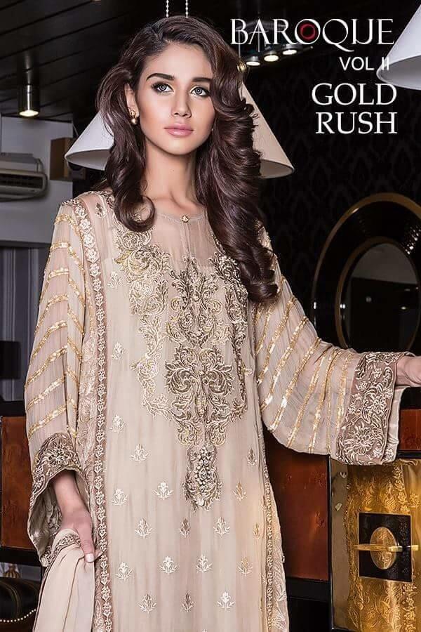 Baroque Gold Rush Luxury Chiffon Winter Dress - 03
