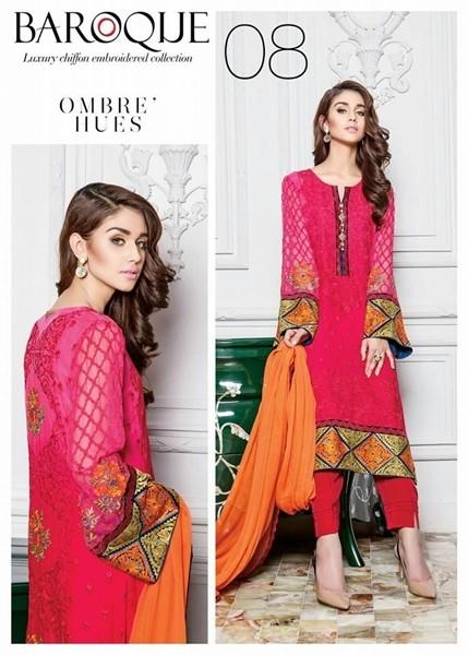 Baroque Ombre Hues Chiffon Winter Dress - 08