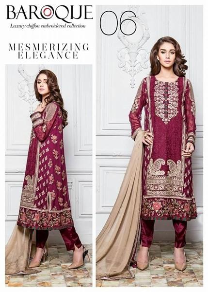 Baroque Mesmerizing Elegance Luxury Chiffon Winter Dress - 06