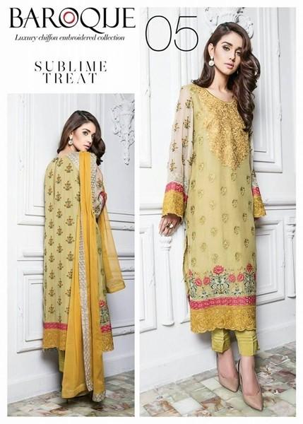 Baroque Sublime Treat Luxury Chiffon Winter Dress - 05