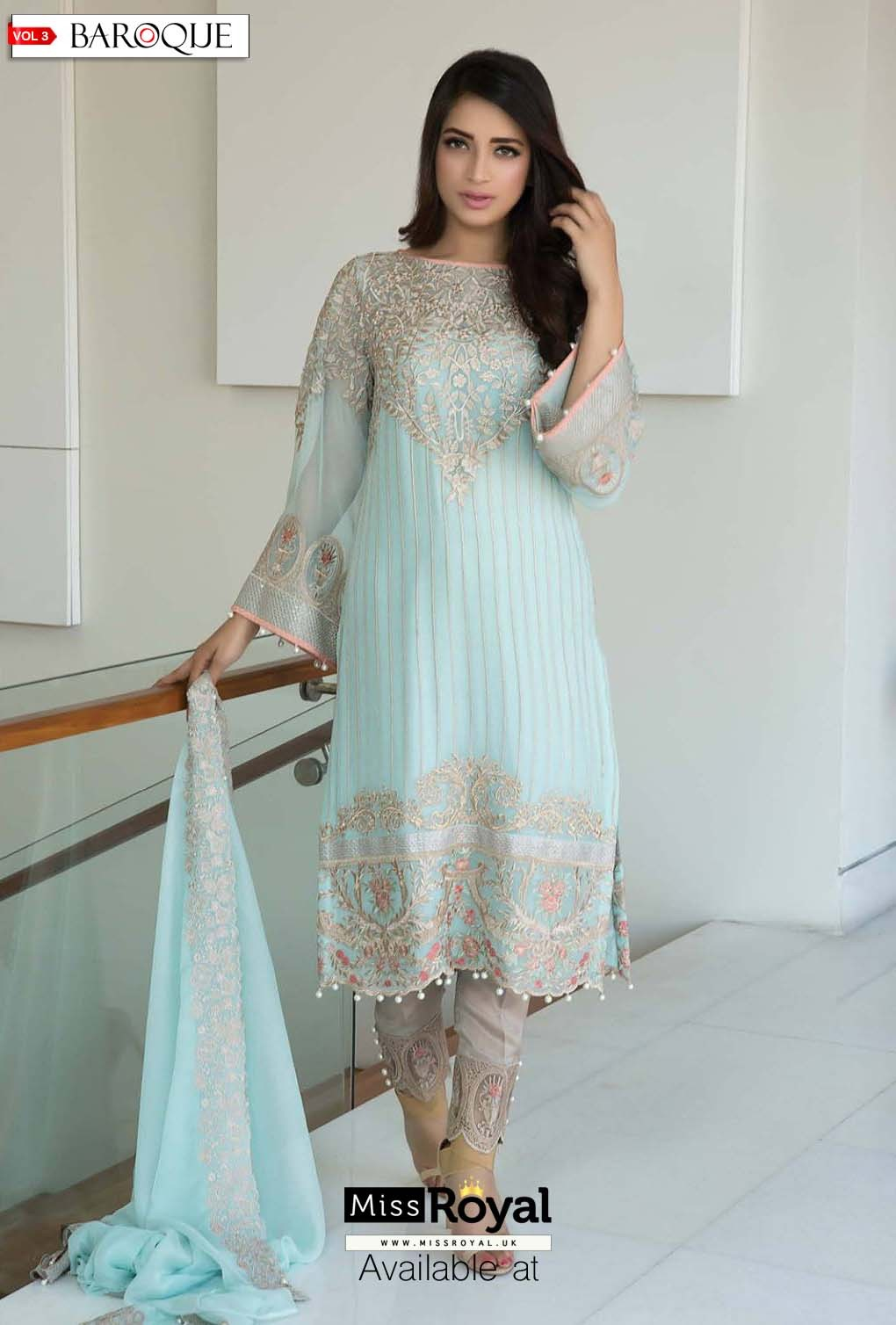 Baroque Aqua Lush Luxury Chiffon Dress vol3 - 02b