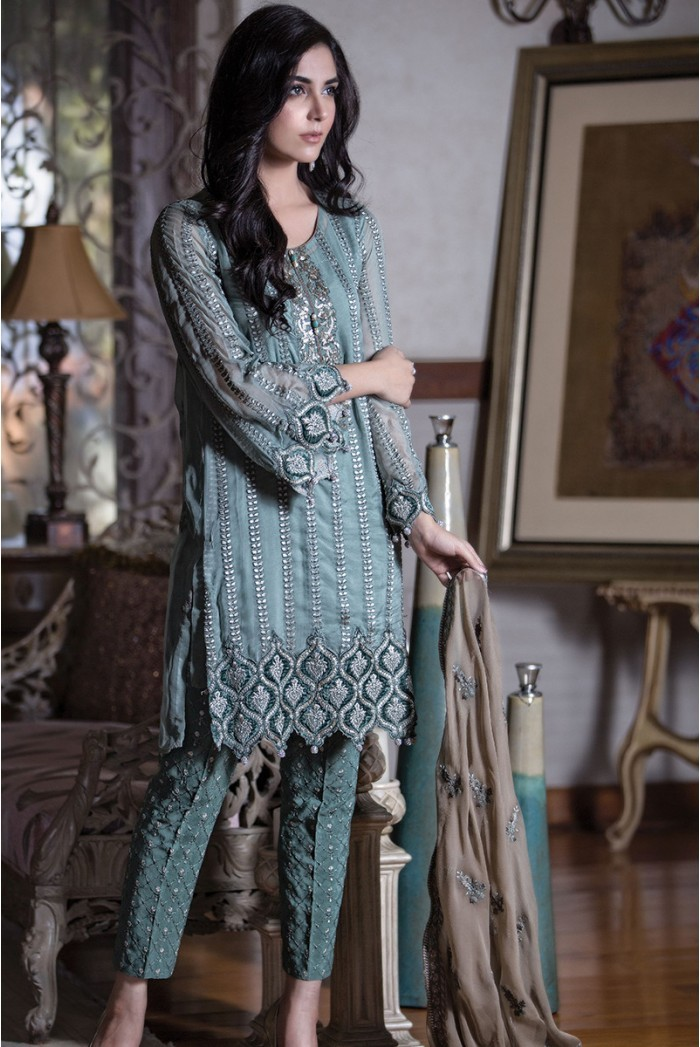 Maria B. - mbroidered fabric - teal green bd-601