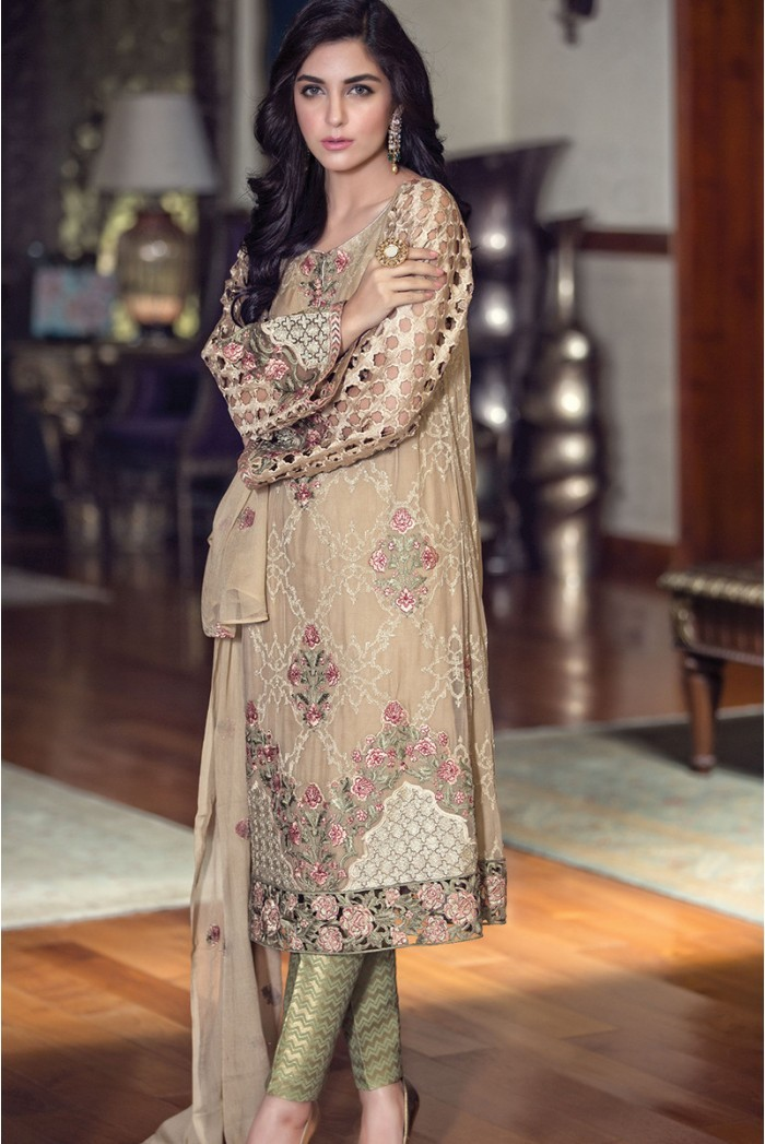 Maria B. - mbroidered fabric - beige bd-607
