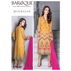 Baroque Bejeweled Luxury Chiffon Winter Dress - 09