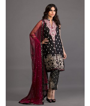 Zainab Chottani - Black and burgundy intricately embellished outfit - 120399 - 1