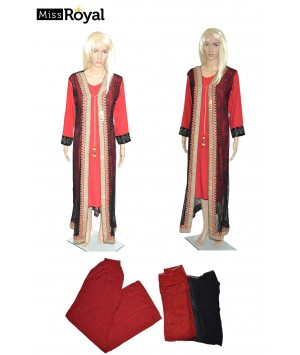 Quality Dress MissRoyal Asian stitched (Red/Black) dress in 4 pieces - Size Small - 1