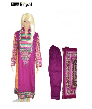 Quality Dress MissRoyal Asian stitched (Purple, Brown) dress in 3 pieces - Size Medium - 1