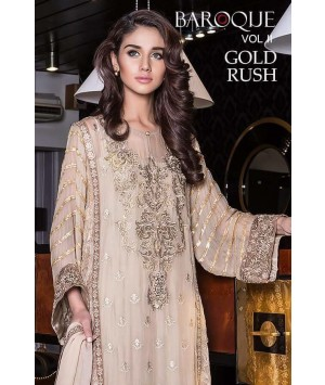 Baroque Gold Rush Luxury Chiffon Winter Dress - 03