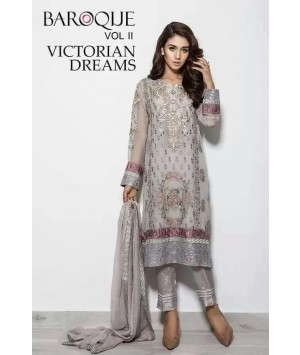 Baroque Victorian Dreams Luxury Chiffon Winter Dress - 01