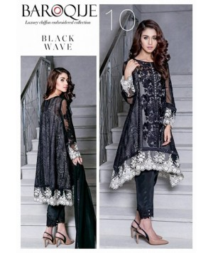Baroque Black Wave Luxury Chiffon Winter Dress - 10