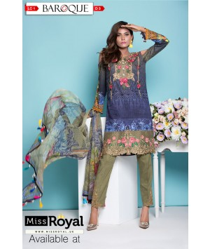 Baroque Rose Garden Lawn Dress Collection1 - Design3a