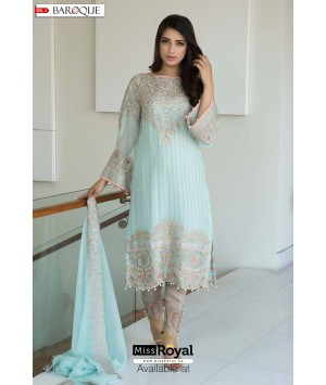 Baroque Aqua Lush Luxury Chiffon Dress vol3 - 02b
