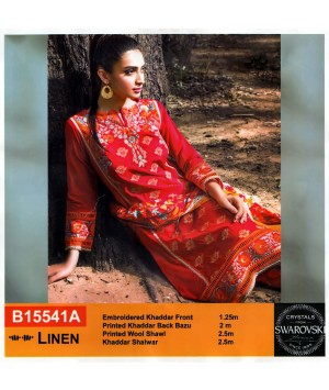 Embroidered khaddar linen stitched red dress in 3piece - Size L
