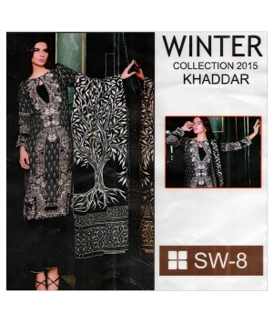 Embroidered khaddar stitched black dress in 3piece - Size L