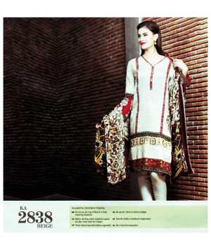 Embroidered stitched beige dress in 3piece - Size L